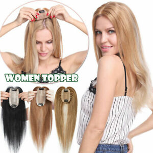 Topper Hairpiece Clip in 100% Human Hair Straight Remy Hair  Silk Base Toupee