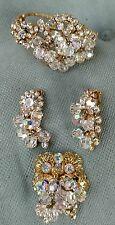 Juliana Crystal and Rhinestone Clamper Bracelet , Pin, Earrings