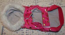 Adorable Dog Coat Pink Gold Polka Dots Faux Fur Hood Sz XS / S Jacket