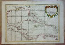RUSSIAN EDITION CENTRAL AMERICA CARIBBEAN by BONNE LATTRE 1780 RARE LARGE MAP