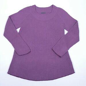 OSKA Womens Jumper Tunic 2 Purple Round Neck Long Sleeve Flared Hem Wool Alpaca