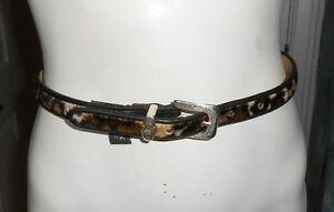 """Brighton Leather cowhide belt new size XS 26"""" brown silver buckle Multi Color"""
