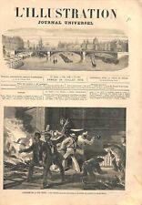 Pompiers Incendie Magasins de la rue Monge à Paris GRAVURE ANTIQUE PRINT 1873