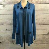 Exclusively Misook Cardigan Blue Acrylic Knit Long Sleeve Open Front Pockets S
