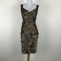 London Times Sleeveless Animal Print Ruffled Sheath Dress Brown Black Size 4