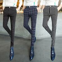 men's Slim Fit pants checks striped pencil trousers hairstylist casual Trousers