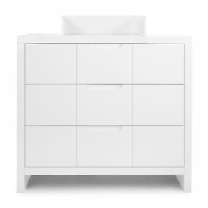 Childhome Quadro 3 Drawer Chest & Baby Changing Unit Bedroom Nursery – White