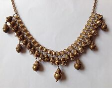 VINTAGE MIRIAM HASKELL SIGNED DANGLING BAROQUE PEARL BOOKCHAIN NECKLACE