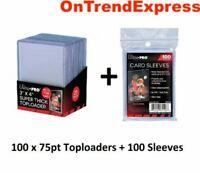 100 x Ultra PRO THICK 75pt Toploader + 100 SLEEVES Toploaders Loader Loaders