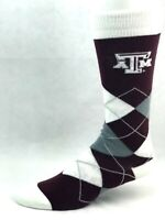 Texas A&M Aggies For Bare Feet Maroon White and Gray Argyle Crew Socks