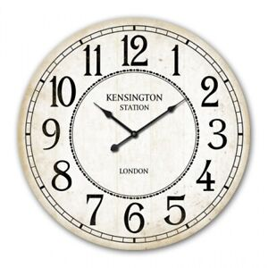 28.8cm Wall Clock Kensington Station Round White Distressed Gift Cafe Home