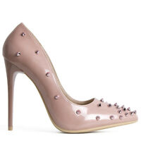 Womens Ladies Court High Heels Studded Heels Stiletto Pointed Toe Shoe Size