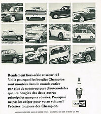 PUBLICITE ADVERTISING 094  1967  CHAMPION  bougies automobiles