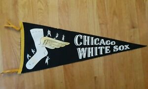 1960s CHICAGO WHITE SOX Player's Hit Pitch & Run Pennant w/ Tassels NELLIE FOX