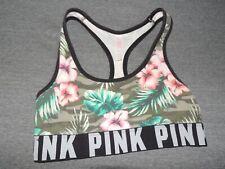 Victoria's Secret PINK Sports Bra XS Floral PINK Logo Work Out Yoga SeXy VS EUC