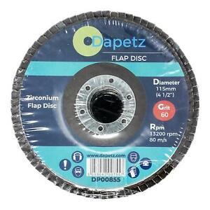 "Flap Grinding Sanding Disc 115mm 4.5"" 60 Grit Zirconium Oxide Angle Wheel"