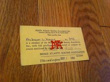 Vintage 1969 Middle Atlantic Skating Association Riverdale NY Membership Card