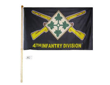 5' Wood Flag Pole Kit Bracket With 3x5 Army 4th Infantry Division Ivy Black Flag