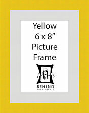 Handmade Yellow Wooden Picture Frame With Mount - 6 x 8''
