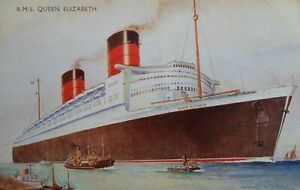 RMS QUEEN ELIZABETH  - J Salmon Postcard