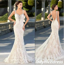 Luxury Backless Lace Applique Wedding Dress Champagne Beaded Mermaid Bridal Gown