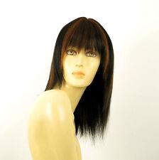 perruque femme 100% cheveux naturel mi-long méchée noir/cuivré KOKO 1b30