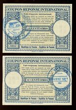 PANAMA 1961 REPLY PAID COUPONS IRCs + CANAL ZONE 12c...CANCELS LEFT + RIGHT