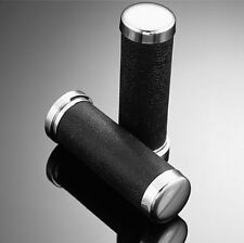 1 INCH (25mm) MOTORCYCLE GRIPS Leather-Look Chrome End Caps Highway Hawk 45-0124