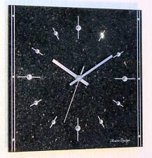 Design Funk Wanduhr Granit Galaxy Black Star schwarz gold silber Küche Uhr neu