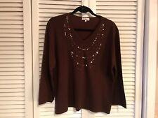 Carducci Woman sz 2X beaded dark brown pullover sweater