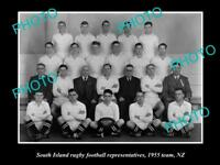 OLD LARGE HISTORIC PHOTO OF THE SOUTH ISLAND REP RUGBY TEAM 1955 NEW ZEALAND