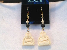WHITE BONE DANGLE  BUDDHA EARRINGS  80'  VINTAGE