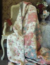 "Victorian Trading Co Cottage Pink Blue Floral Patchwork Quilt 86"" Square Cotton"