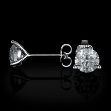 2.5 Ct Round Natural Diamond 3 Prongs Stud Earrings 14K White Gold SPECIAL OFFER