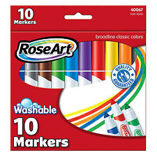 Rose Art 10 Count Washable Classic Colors Broadline Markers NEW Supplies Crafts