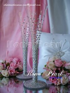 Swarovski Crystal Personalized Silver Gold Wedding Champagne Wine Glasses Flutes