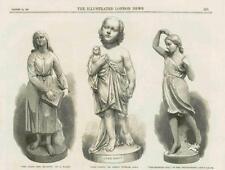 1867-antica Stampa LE STATUE ragazza cieca Halse Durham Thornycroft (192 A)