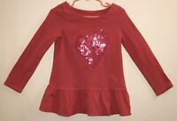 Gymboree Little Girl  Sz 4 Top Long Sleeves Pink Tulle Heart w/ Pink Sequins EUC