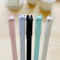 6pcs / set nette Katze Gel Pen Black Ink Stifte Kawaii Office School Statio D0H3