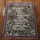 Tapestry Throw Blanket 46 x 57 Religious Prayer Wish Saying Multicolor Floral