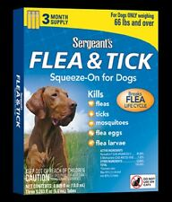 SERGEANT'S Dog FLEAS & TICKS 66 lb & Over SQUEEZE ON Eggs+Larvae 3 MONTH SUPPLY