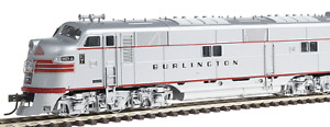 Broadway bli737 EMD E7 CB&Q #9921-A, Stainless Steel w/ Red Stripes Sound