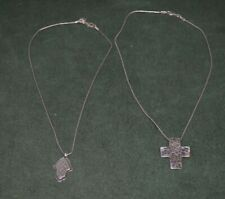 Two Silpada Sterling Silver Pendant with Chains_Hammered Cross & a Medallion
