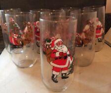 Set of 8 CHRISTMAS GLASSES Santa Claus Reindeer&Sleigh& Christmas Tree-Luminarc