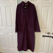 LL Bean Womens Size XL Heavyweight Fleece Long Purple Bath Robe Vintage Zip
