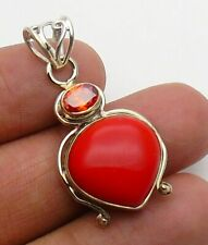 Two Tone Red Coral  Pendant Gemstone Jewellery Ethnic 925 Silver LOOP Handmade