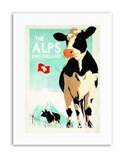 SWITZERLAND COW ALPINE FLAG SNOW MOUNTAIN Poster Travel Canvas art Prints