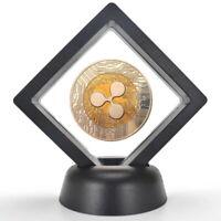 Ripple Münze Etui Box Kryptowährung Gold Bitcoin Schwarz vergoldet Sammler XRP