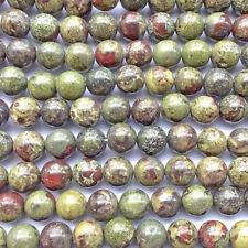Dragon Blood Jasper Quartz 10mm Round Ball Semi Precious Stone Beads Q1 Strand
