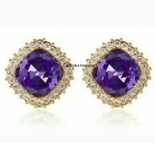 Natural Amethyst & C Z Gemstones With 925 Sterling Silver Gold plated Cufflinks